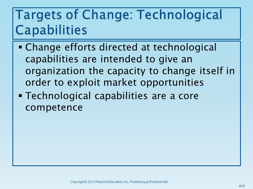 Targets of Change: Technological Capabilities