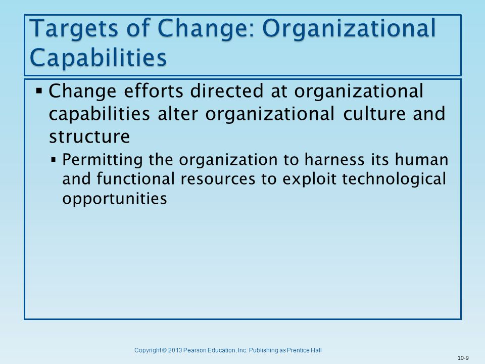 Targets of Change: Organizational Capabilities