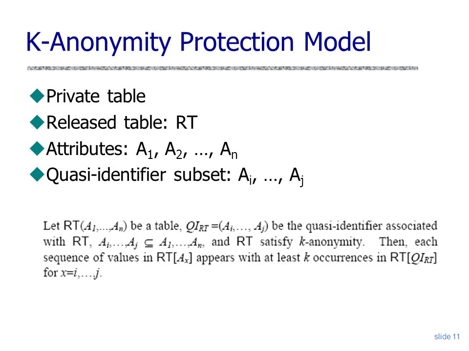 K-Anonymity Protection Model