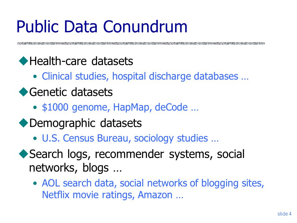 Public Data Conundrum Health-care datasets Genetic datasets