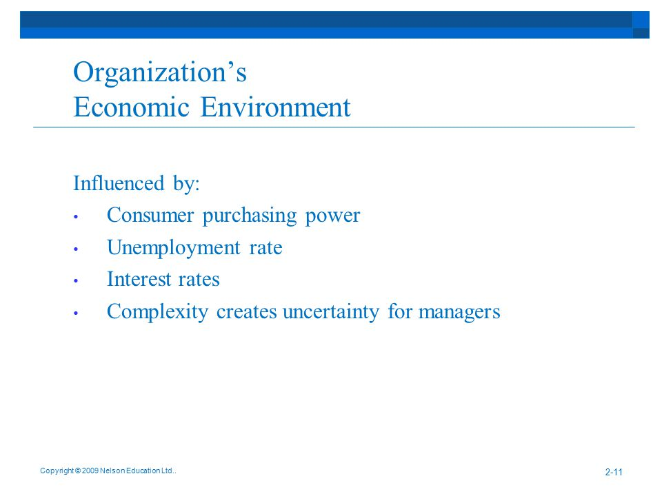 Organization's Economic Environment