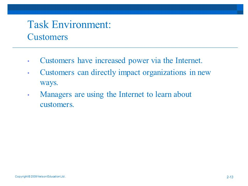 Task Environment: Customers