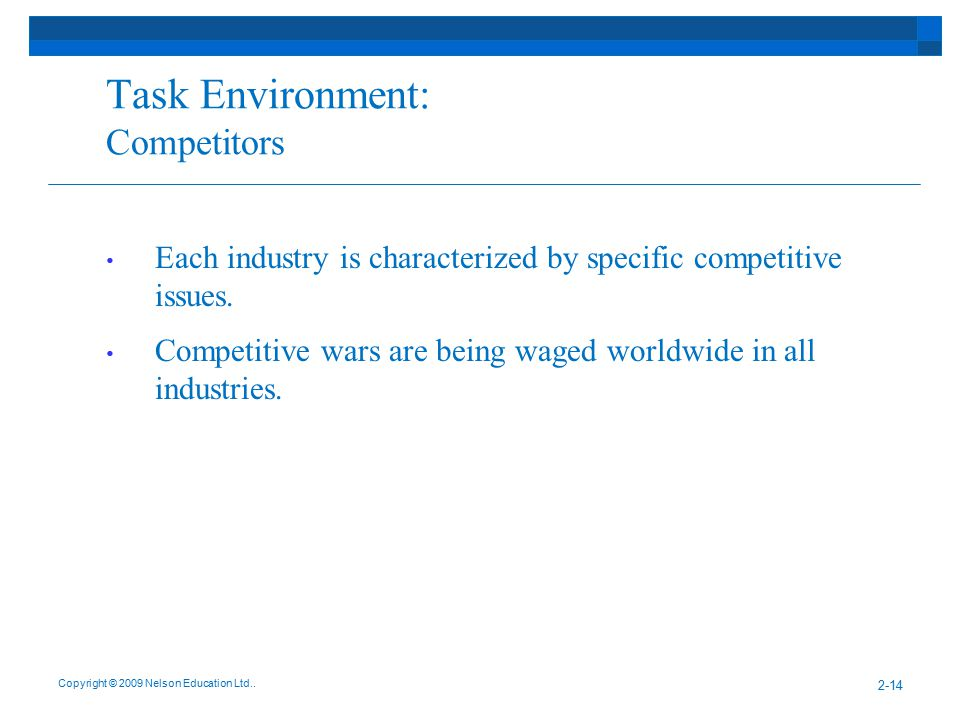 Task Environment: Competitors