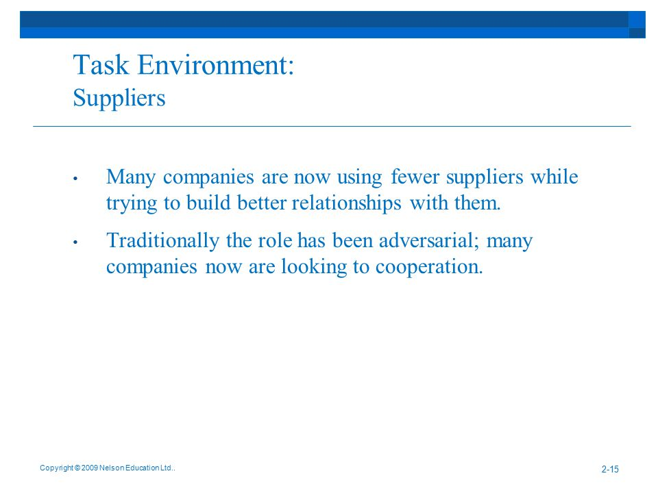 Task Environment: Suppliers
