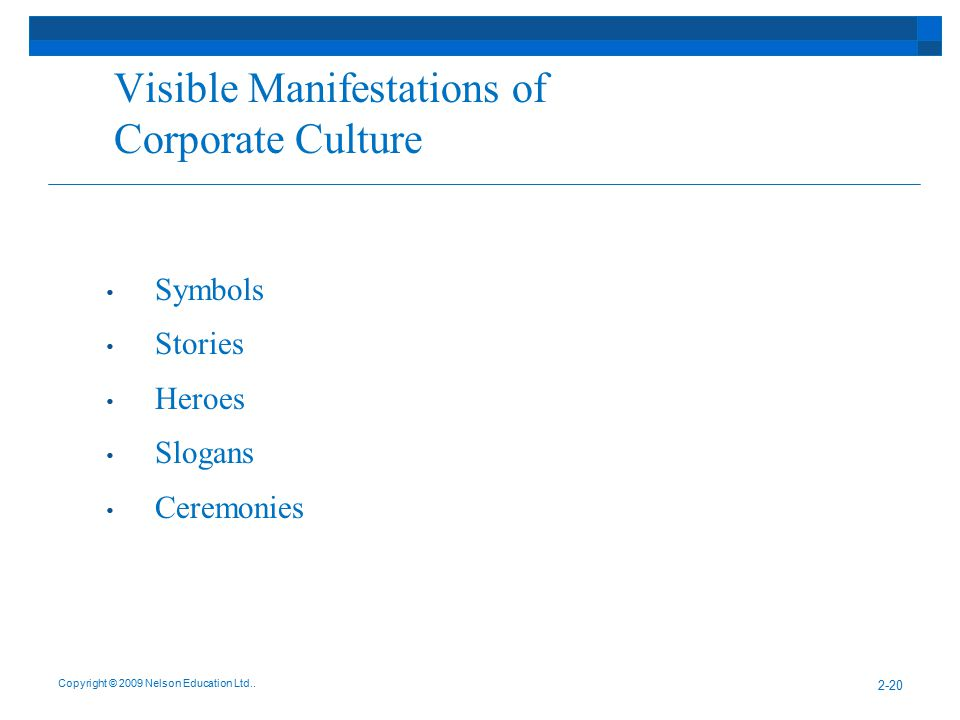 Visible Manifestations of Corporate Culture