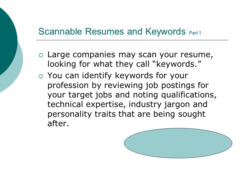 Scannable Resumes And Keywords Part 1