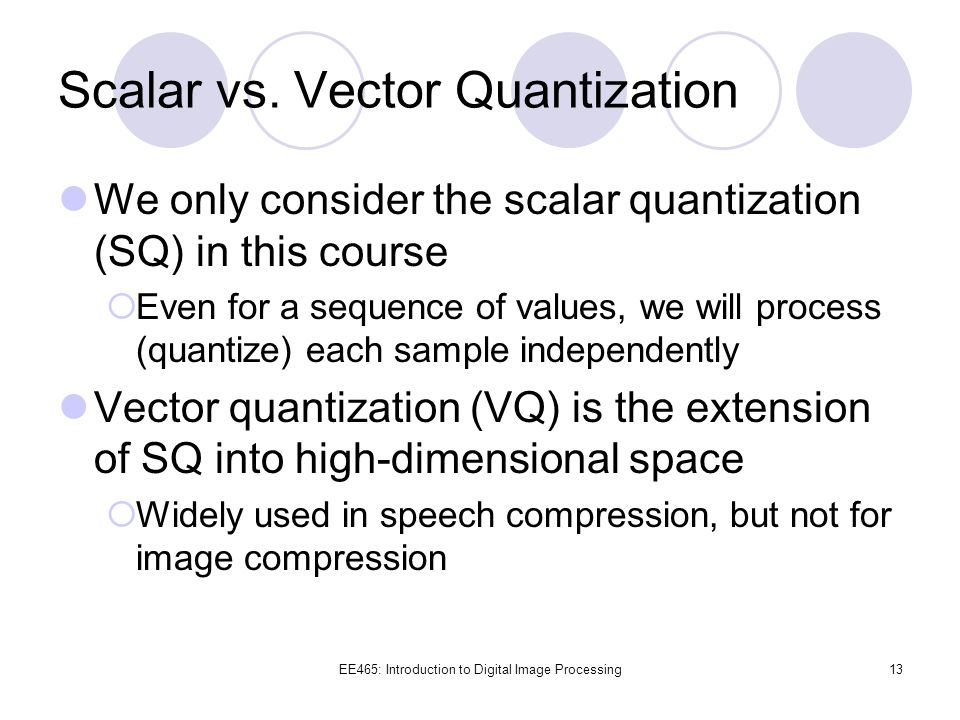 Scalar vs. Vector Quantization
