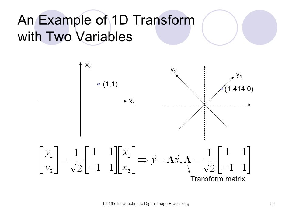 An Example of 1D Transform with Two Variables