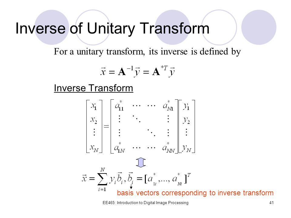 Inverse of Unitary Transform