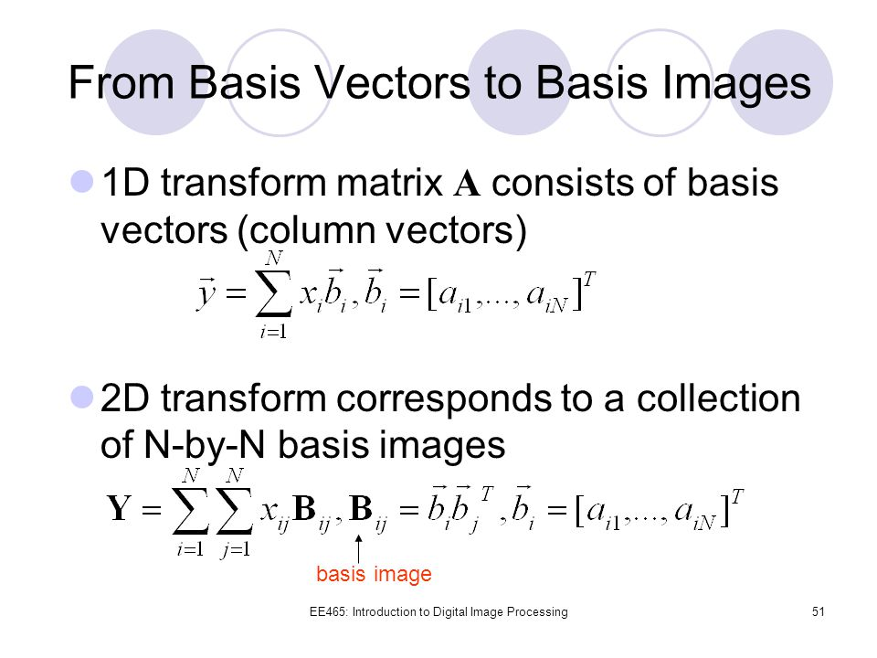 From Basis Vectors to Basis Images