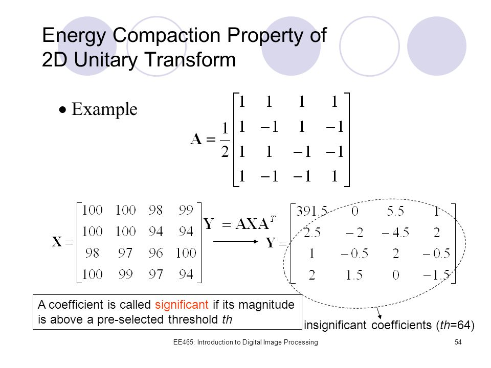 Energy Compaction Property of 2D Unitary Transform