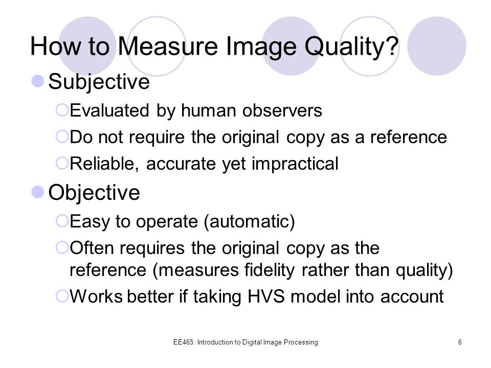 How to Measure Image Quality