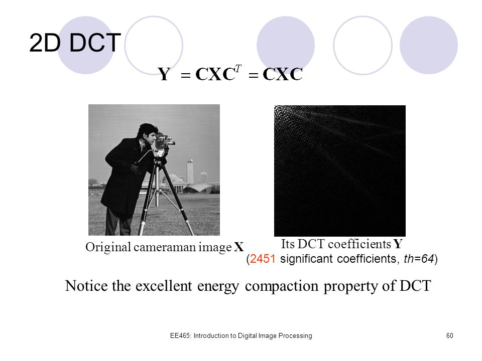 2D DCT Notice the excellent energy compaction property of DCT