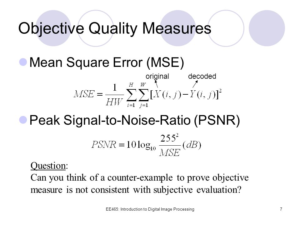 Objective Quality Measures
