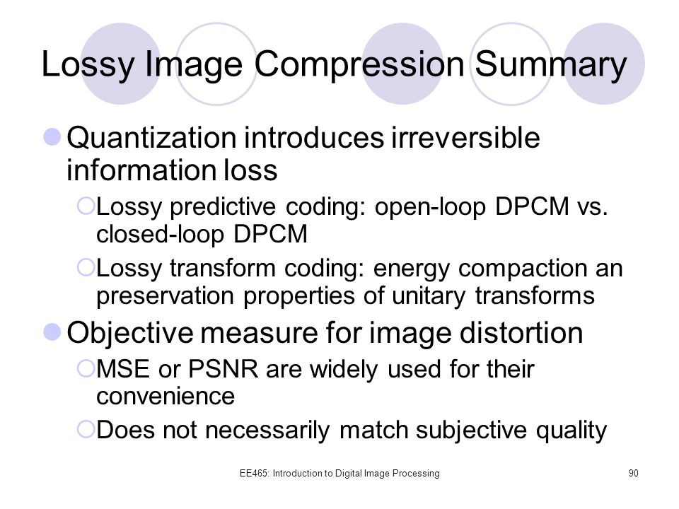 Lossy Image Compression Summary