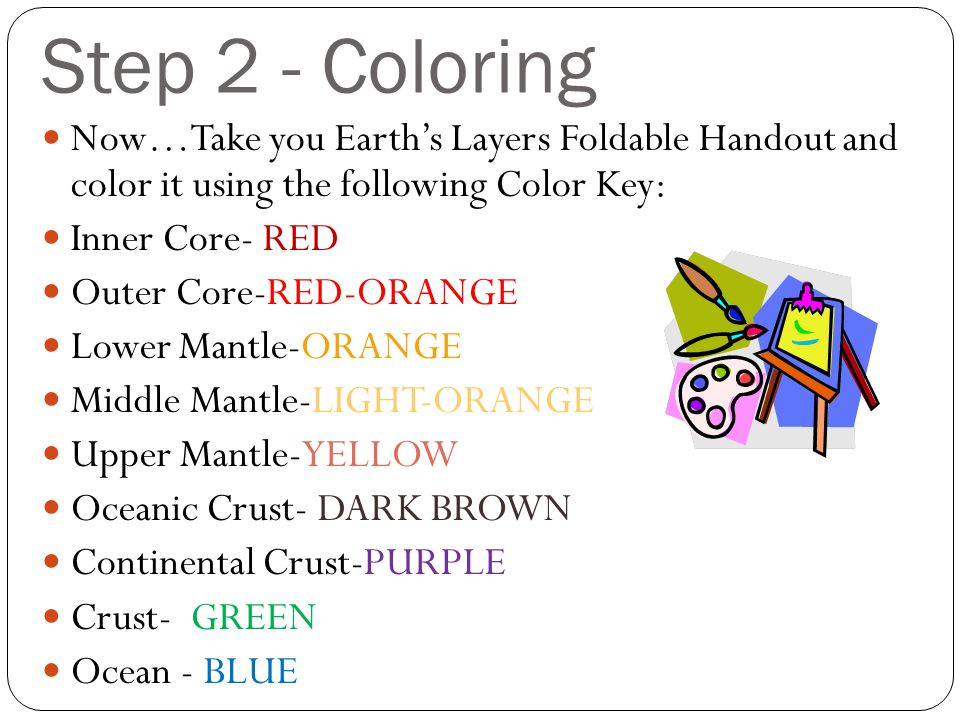 Step 2 - Coloring Now…Take you Earth's Layers Foldable Handout and color it using the following Color Key: