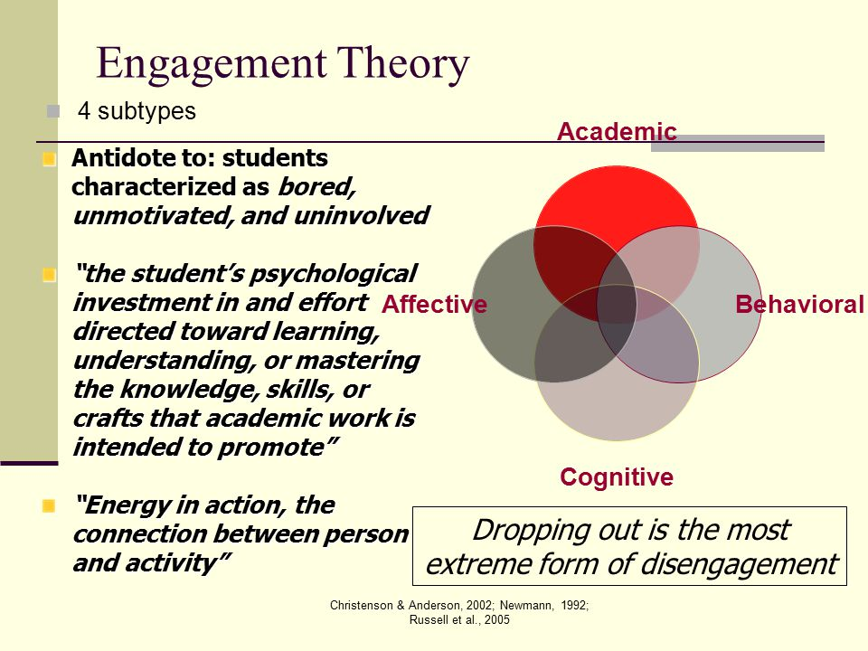 Engagement Theory 4 subtypes. Antidote to: students characterized as bored, unmotivated, and uninvolved.