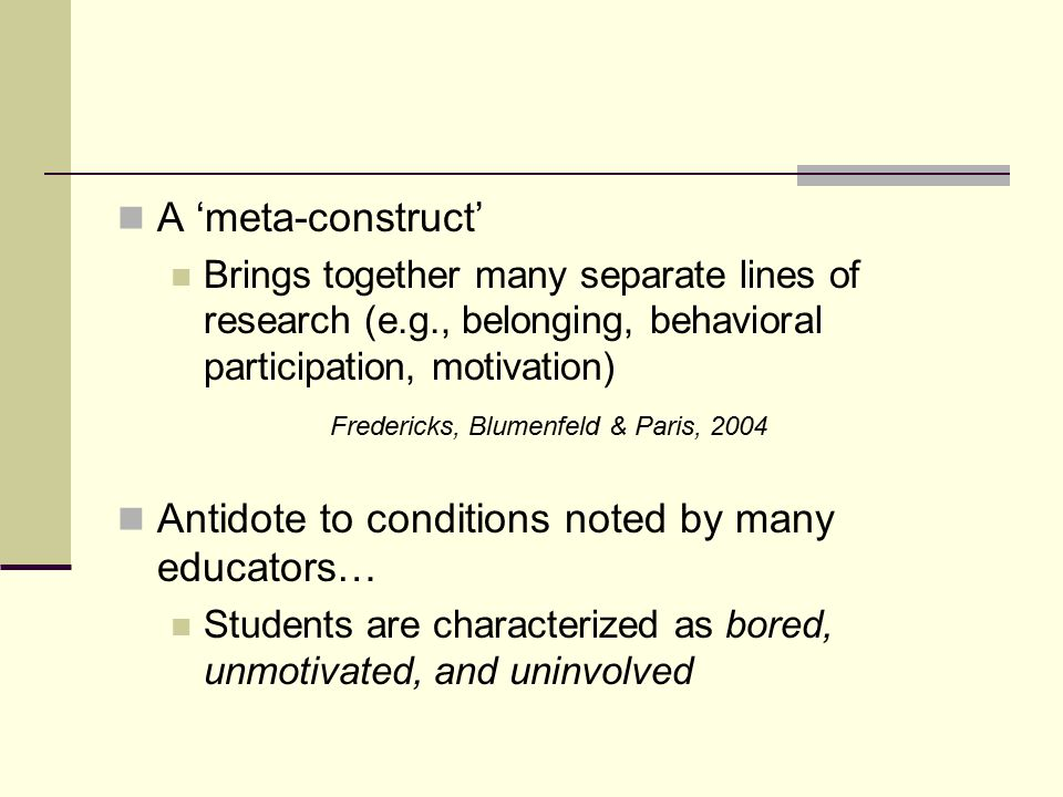 Antidote to conditions noted by many educators…