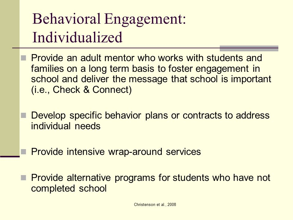 Behavioral Engagement: Individualized