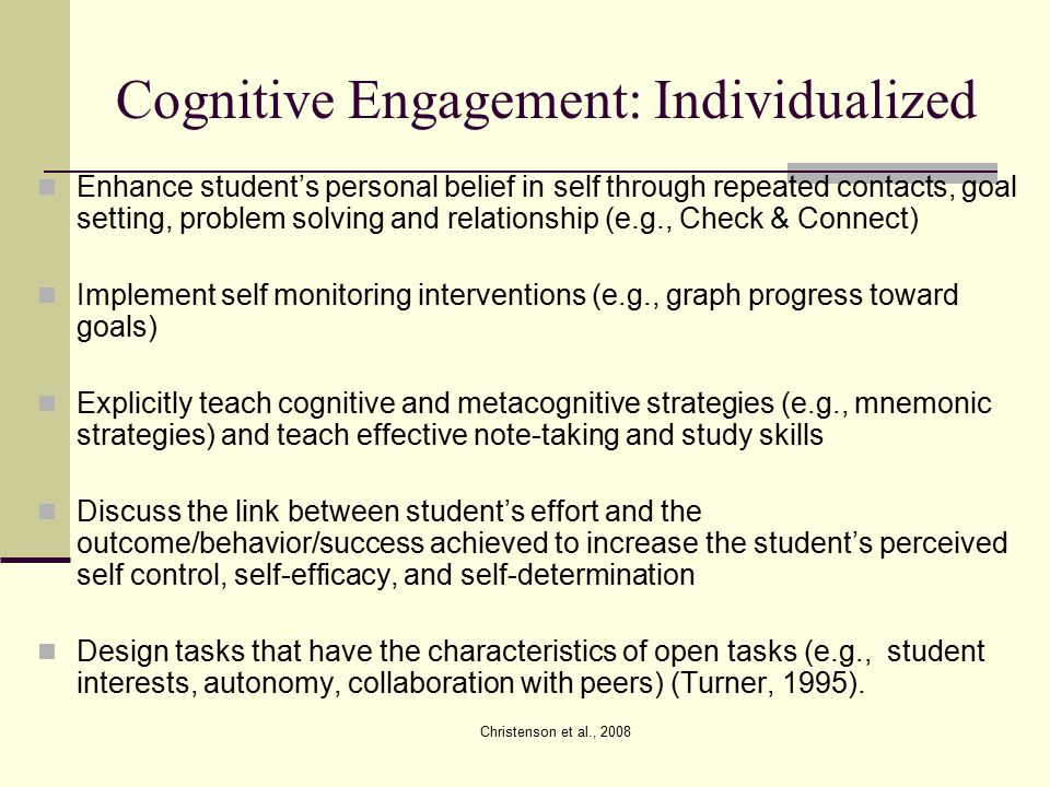 Cognitive Engagement: Individualized