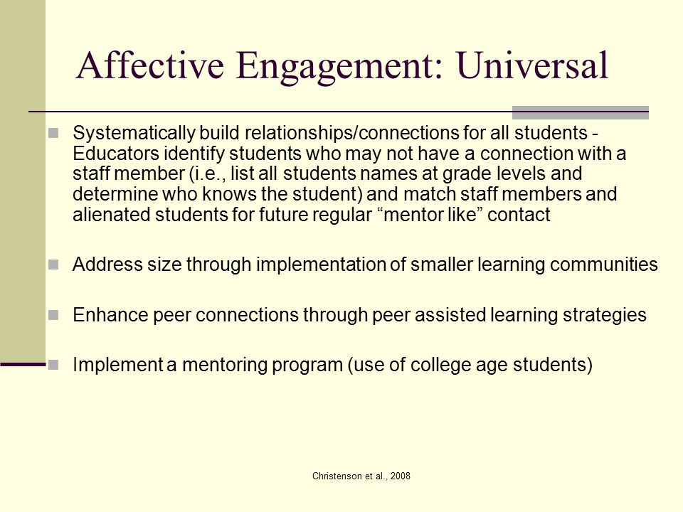Affective Engagement: Universal