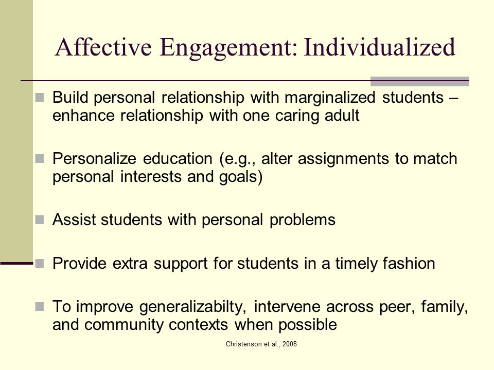Affective Engagement: Individualized