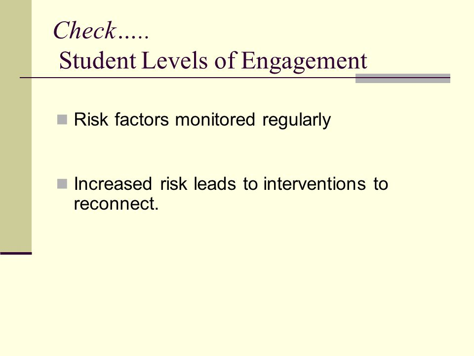 Check….. Student Levels of Engagement