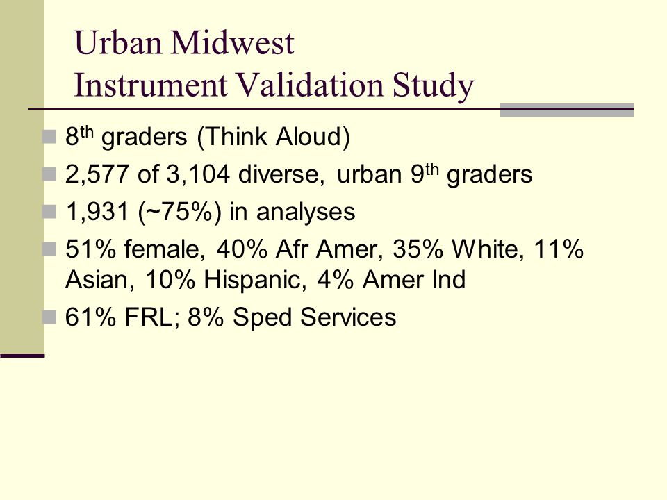 Urban Midwest Instrument Validation Study