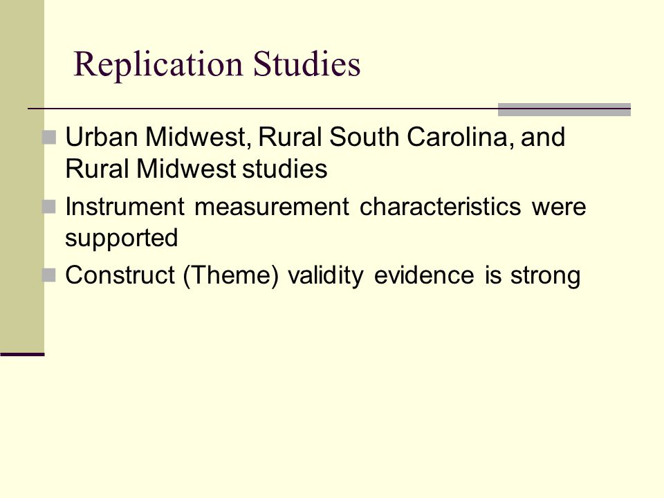 Replication Studies Urban Midwest, Rural South Carolina, and Rural Midwest studies. Instrument measurement characteristics were supported.
