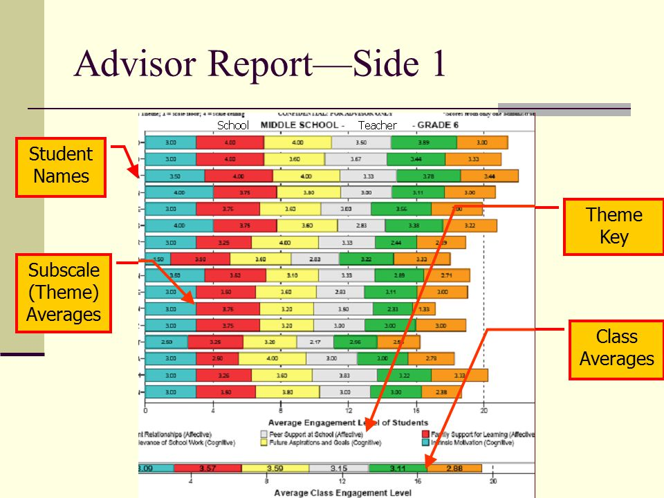Advisor Report—Side 1 Student Names Theme Key Subscale