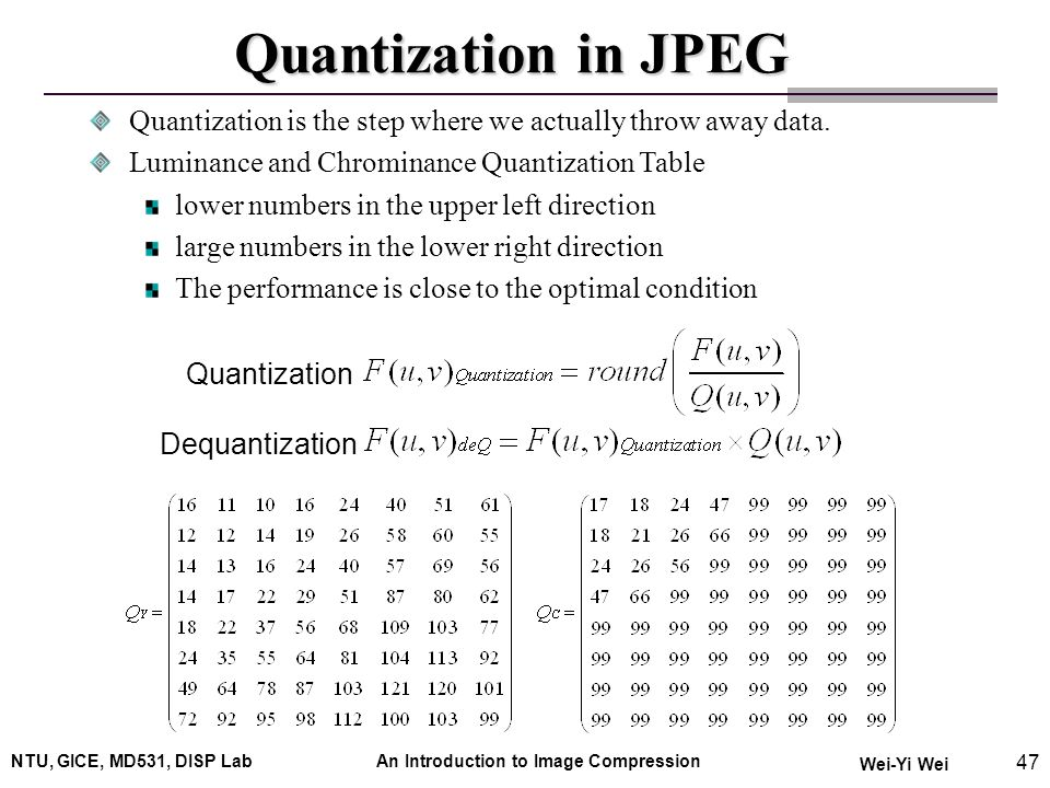 An introduction to image compression ppt video online for Quantization table design revisited for image video coding
