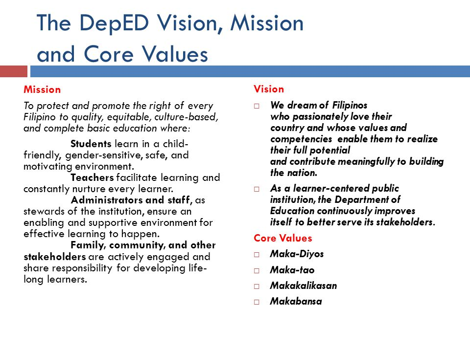 deped vision mission core values Deped v video version of deped's vision, mission and values.