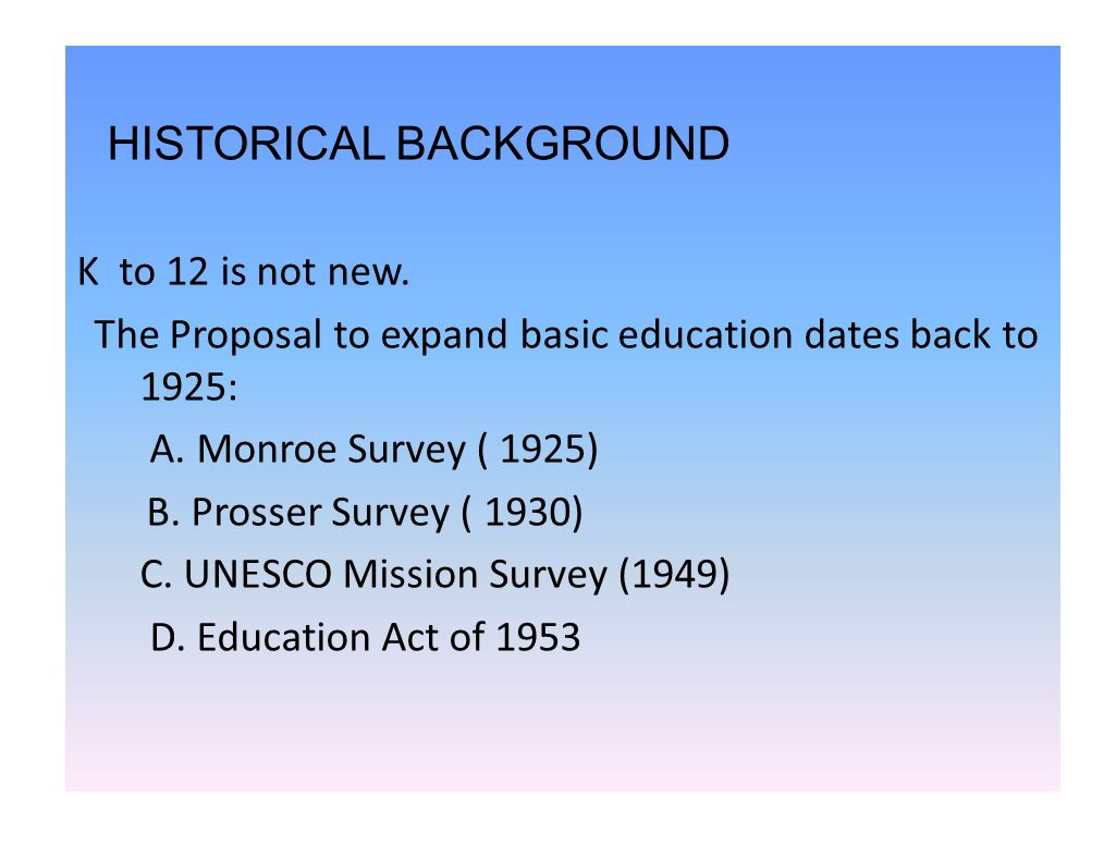 K to 12 background images - Historical Background K To 12 Is Not New