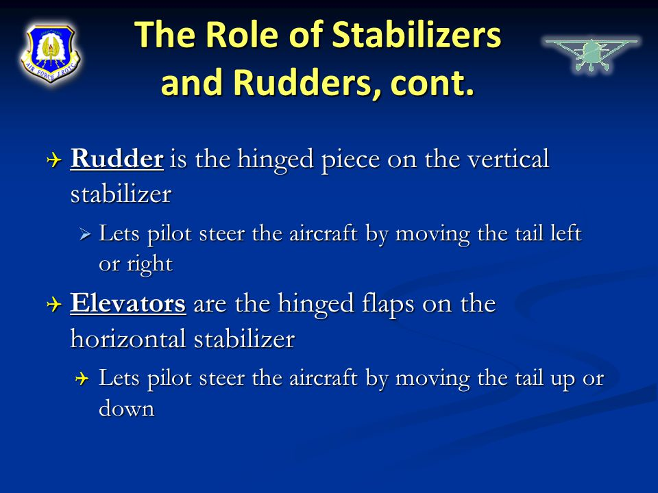 The Role of Stabilizers and Rudders, cont.