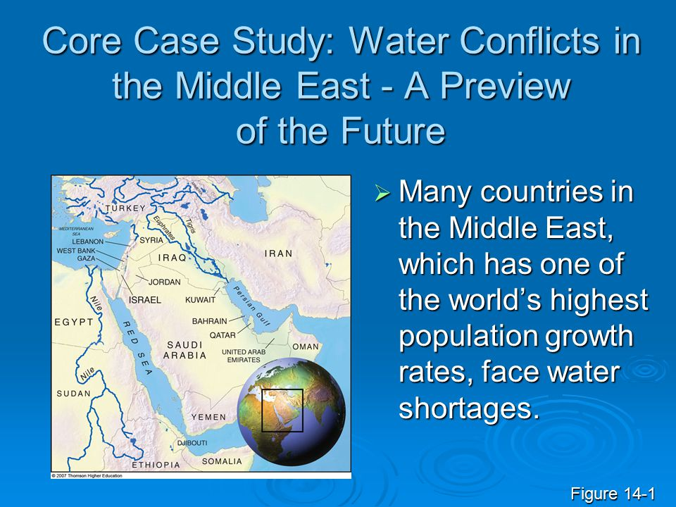 fresh water conflict in middle east Reviews of water demand management in the middle east and in south africa, two of the most water-challenged areas of the world, show that water demand management is occurring in almost all nations.
