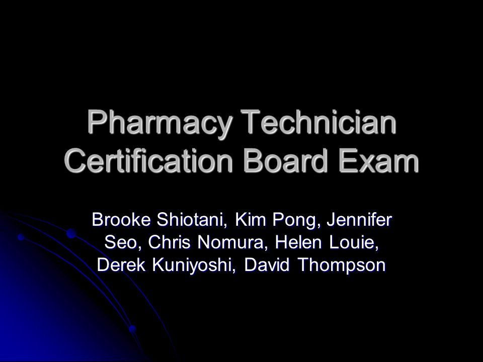 Pharmacy Technician Certification Board Exam Ppt Video Online Download