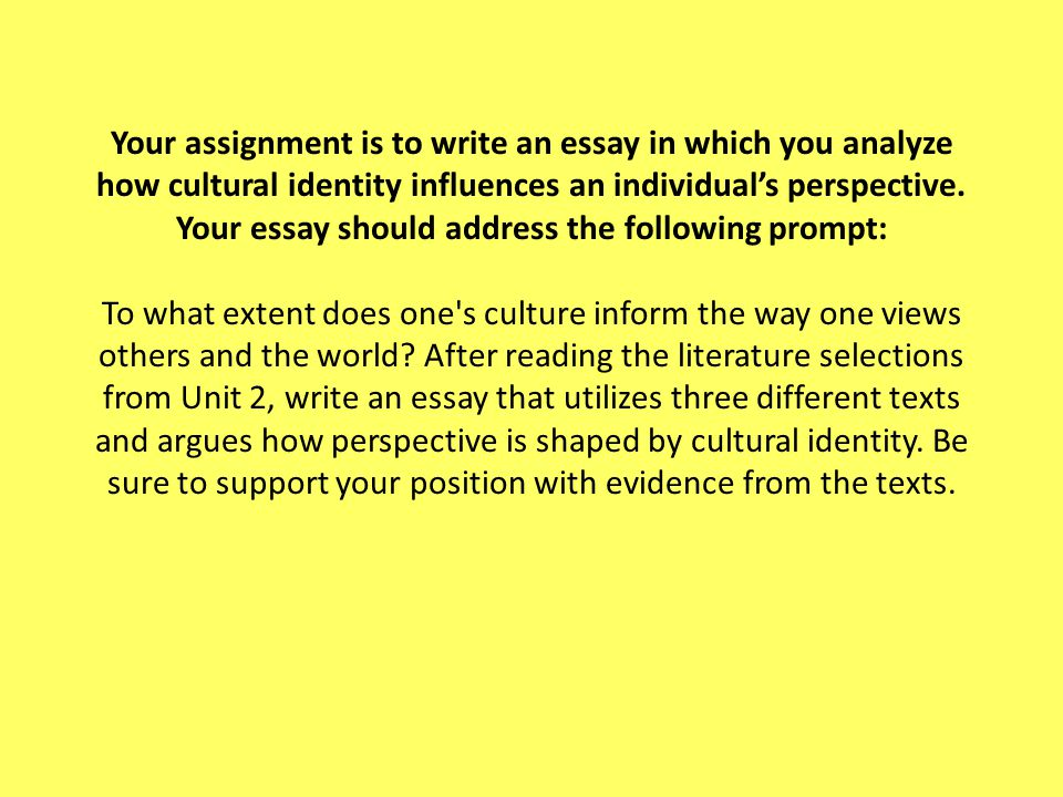 cultural analysis essay assignment