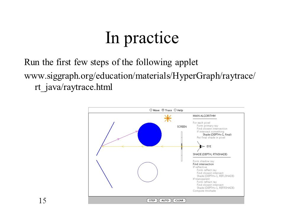 In practice Run the first few steps of the following applet