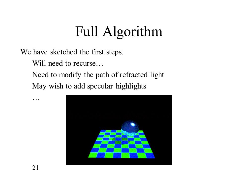 Full Algorithm We have sketched the first steps. Will need to recurse…