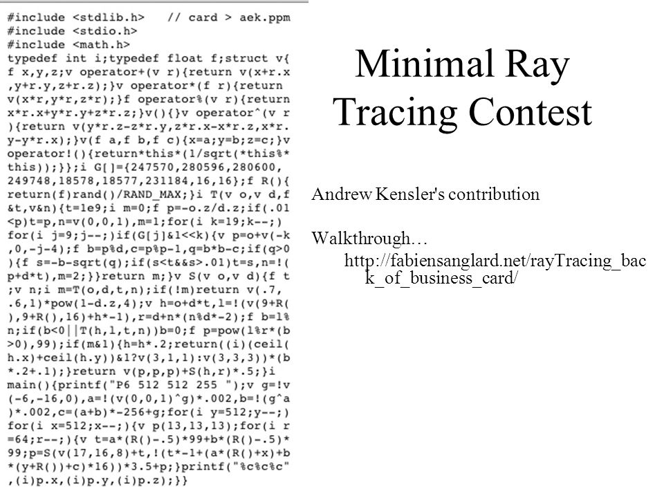 Minimal Ray Tracing Contest