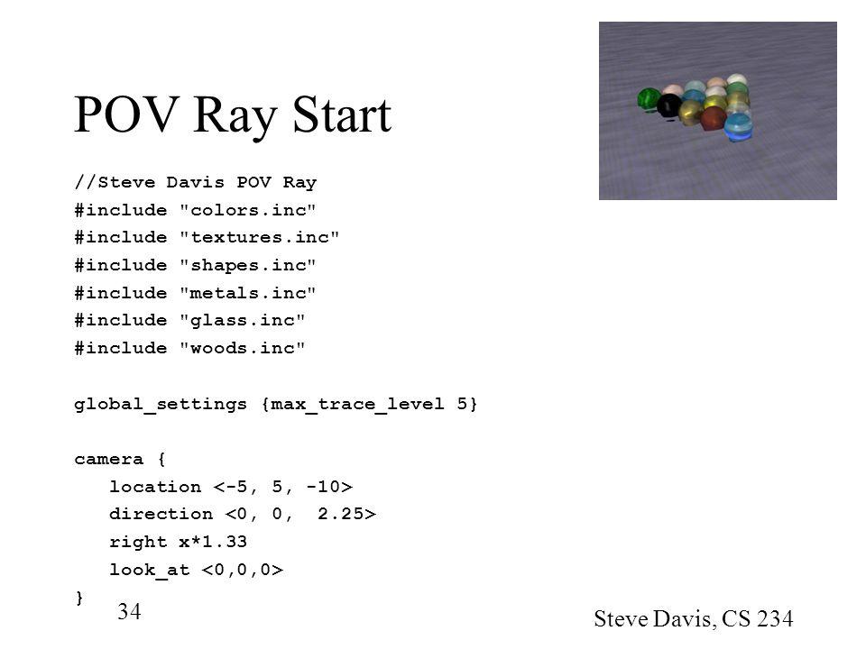 POV Ray Start Steve Davis, CS 234 //Steve Davis POV Ray