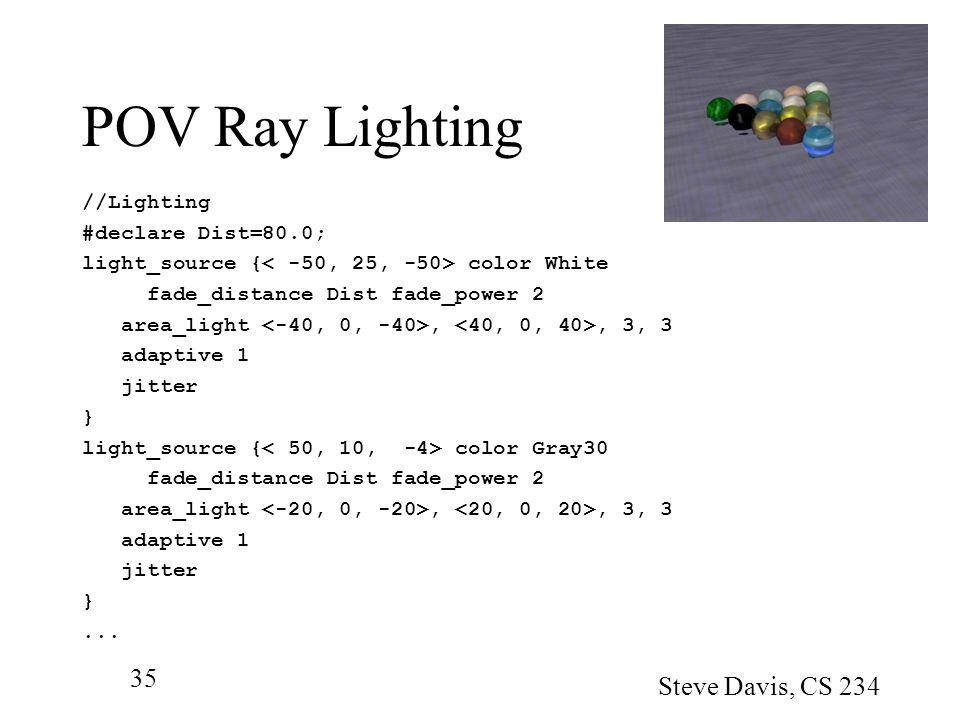 POV Ray Lighting Steve Davis, CS 234 //Lighting #declare Dist=80.0;