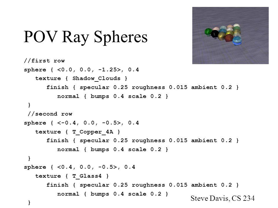POV Ray Spheres Steve Davis, CS 234 //first row