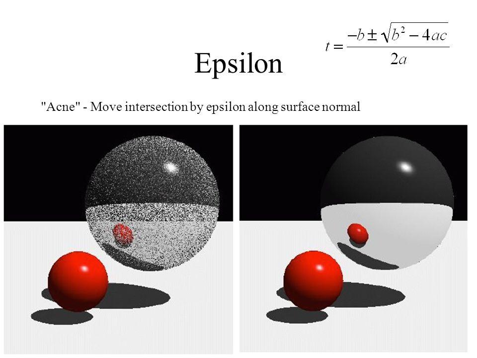 Epsilon Acne - Move intersection by epsilon along surface normal