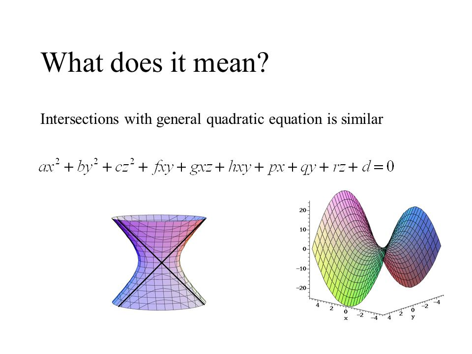 What does it mean Intersections with general quadratic equation is similar