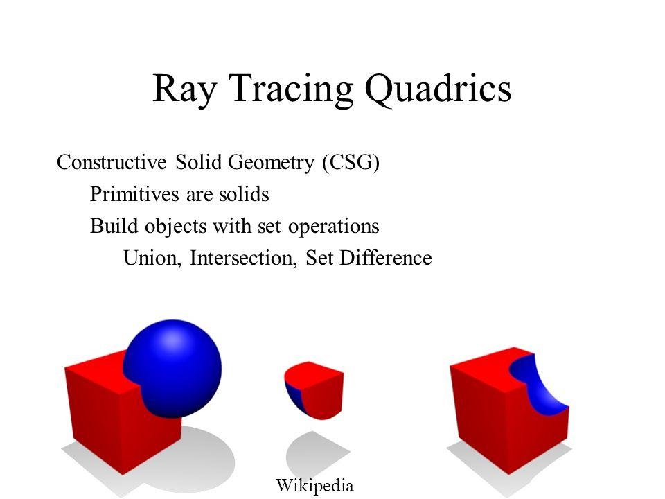 Ray Tracing Quadrics Constructive Solid Geometry (CSG)