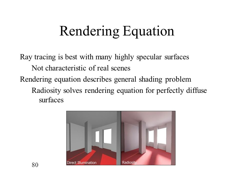 Rendering Equation Ray tracing is best with many highly specular surfaces. Not characteristic of real scenes.