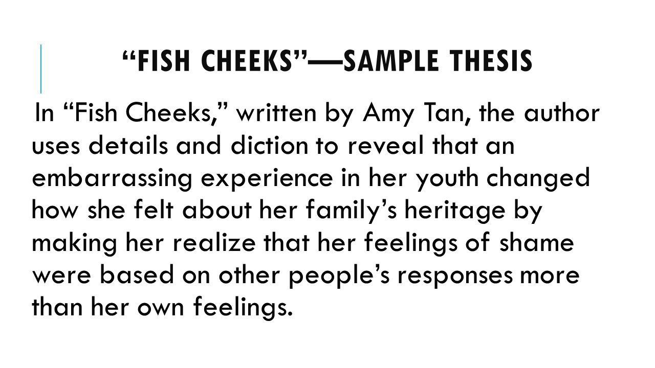 "pre ap analytical essay ppt video online  7 ""fish cheeks"" sample thesis"