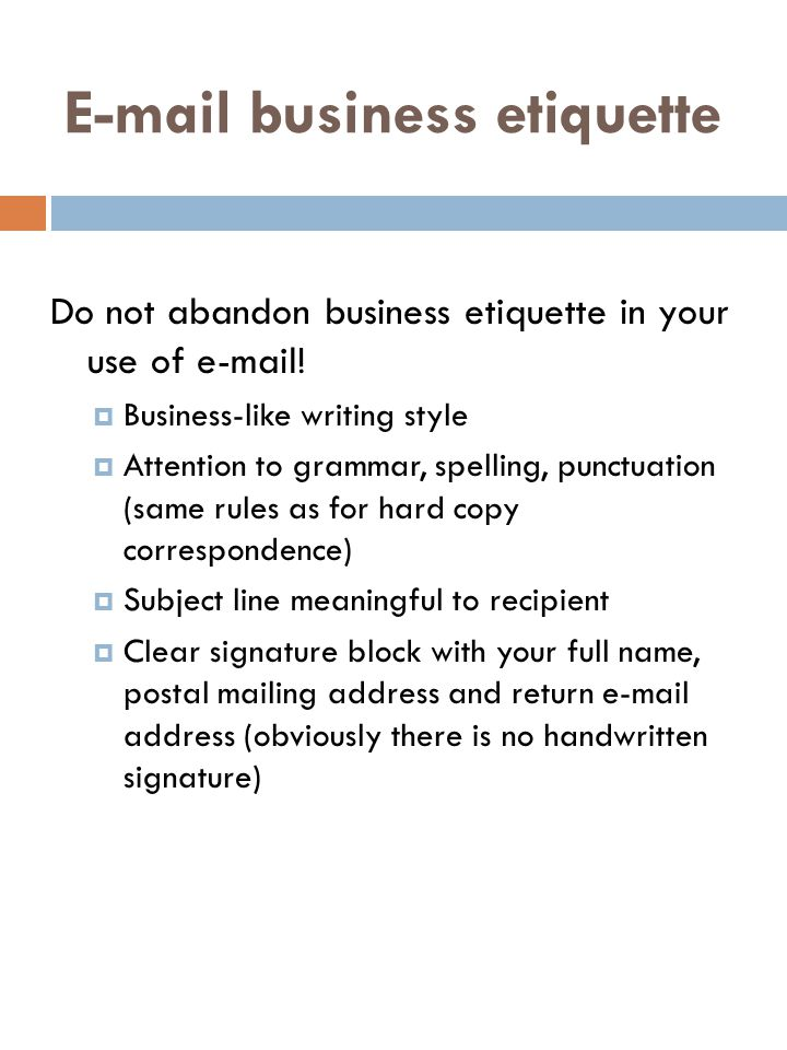 business communication and etiquette essay Business communications and writing have much in common with the expository  essays of academia and magazines while expository essays may cover.