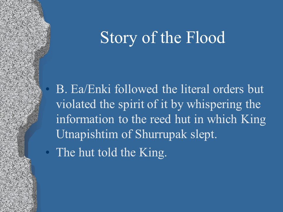 the story of the flood the The story of noah's ark gives us one of the greatest examples of perseverance and trusting in god's plan god brings a flood to the earth to destroy everyone but noah and his family discover the promise of god's rainbow and historical proof of the flood and ark.
